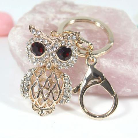 Crystal pearl lovely owl keychain bag/purse charm