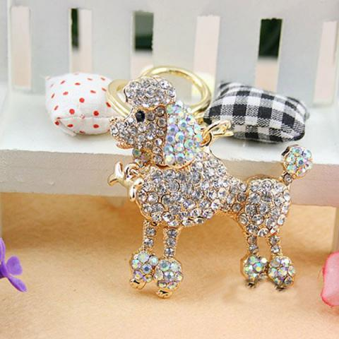 Crystal poodle dog keychain bag/purse charm