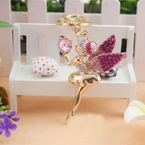 Crystal cute angel keychain bag/purse charm