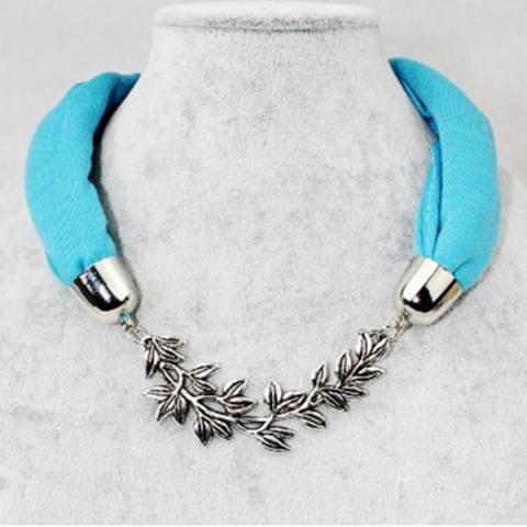 Silver alloy flower pendant cotton collar neck scarf