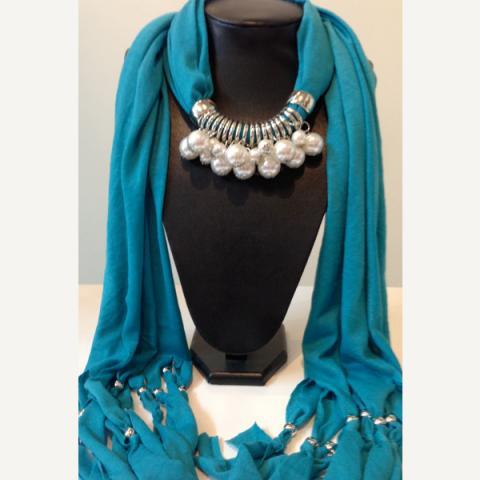 Imitation pearl jewelry scarf