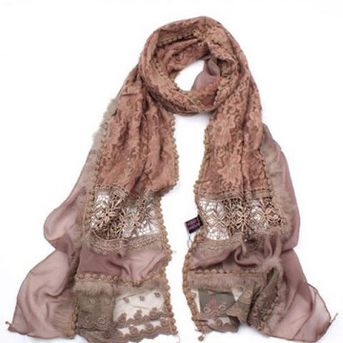 Patchwork lace silk scarf