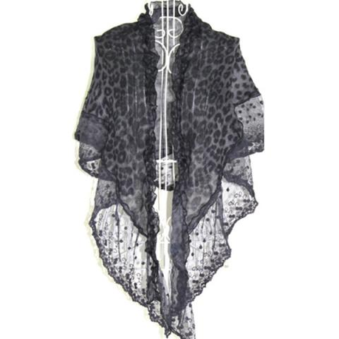 Leopard-print triangle lace scarf (2 layer)