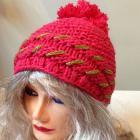 Warm winter hat with gold thread & pom-pom