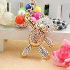 Alloy bear keychain/handbag charm with colorful beads