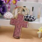 Pink crystal cross keychain handbag charm