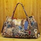 Genuine leather snake print bright fashion patchwork shoulder bag