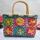 Mixed colour flower decoration tote straw bag (PLU1035)