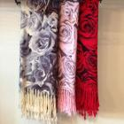 Rose-patterned pashmina scarf
