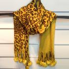 Cashmere leopard fur-ball long scarf